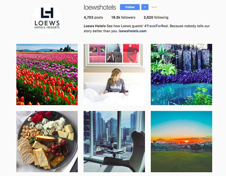 Lowes Hotels Instagram Example